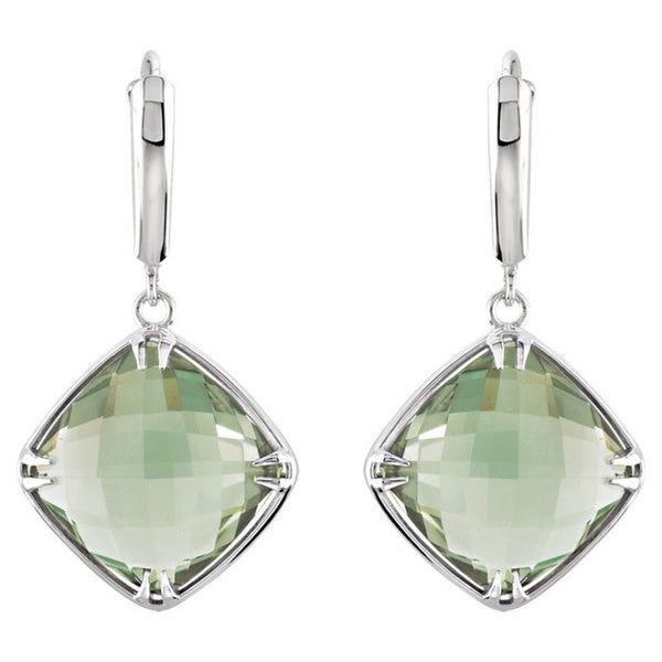 Ladies Sterling Silver Genuine Green Quartz Earrings