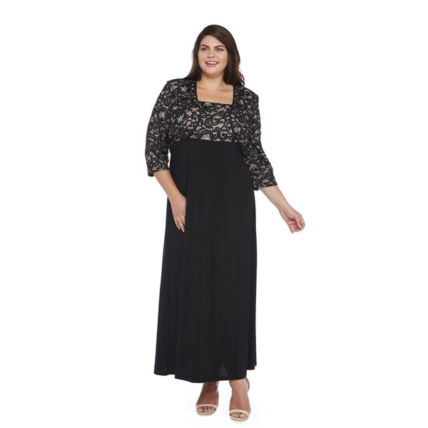 R&M Richards Plus Size Sequin Lace Long Jacket Dress