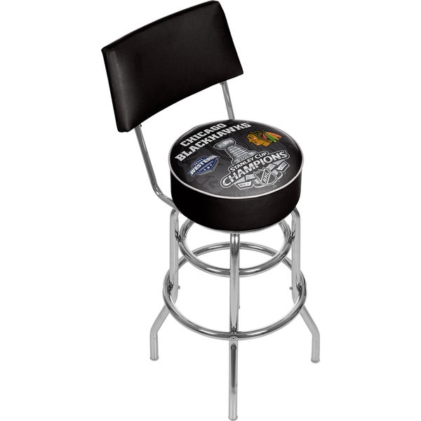 Chicago Blackhawks Bar Stool with Back - 2015 Stanley Cup Champs 16405721