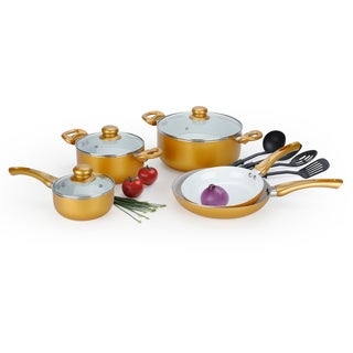 Sale 12 piece ceramic cookware set gold get price for Alpine cuisine flatware
