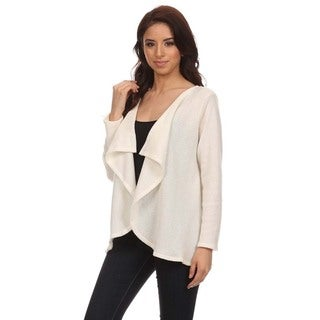 Women's Open Front Cardigan with Draped Collar