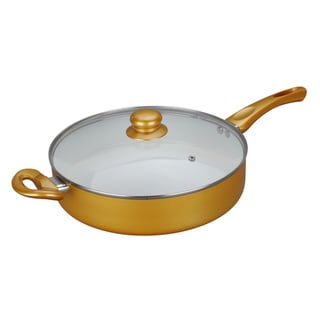 11-inch Ceramic Deep Fry Pan with Glass Lid, Metallic Gold