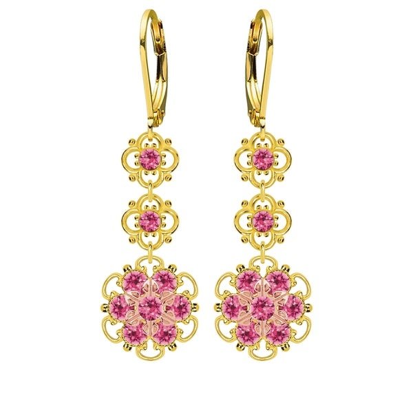 Lucia Costin Silver, Pink Austrian Crystal Earrings 16405895