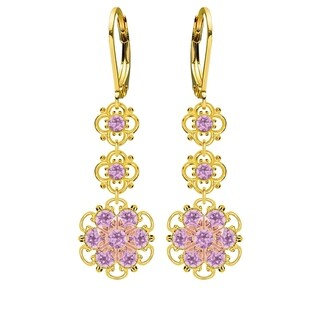 Lucia Costin Sterling Silver, Lilac Austrian Crystal Earrings