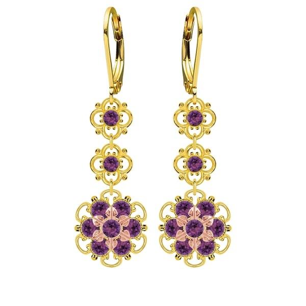 Lucia Costin Silver, Violet Swarovski Crystal Earrings