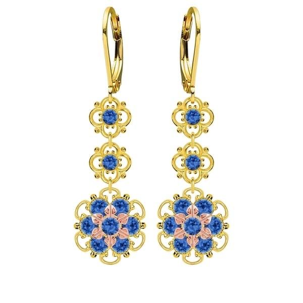 Lucia Costin Silver, Blue Swarovski Crystal Earrings