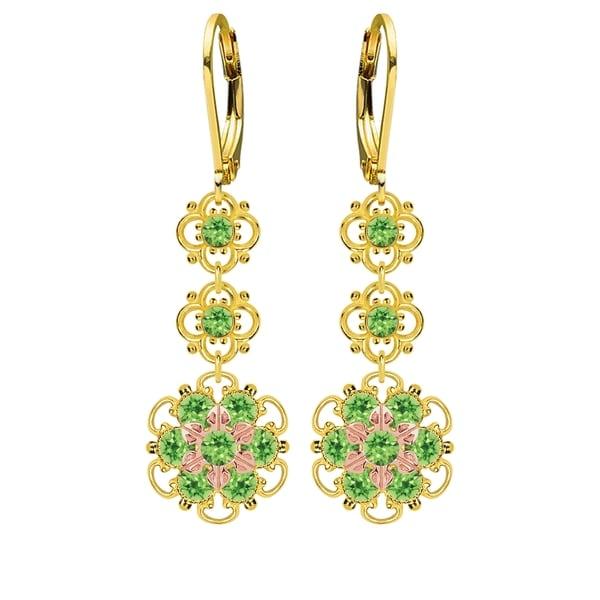 Lucia Costin Silver, Light Green Swarovski Crystal Earrings