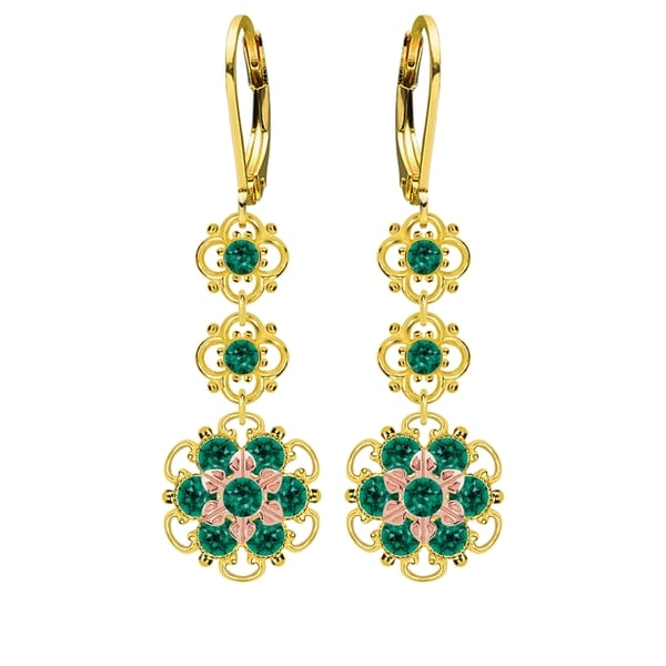 Lucia Costin Silver, Green Swarovski Crystal Earrings