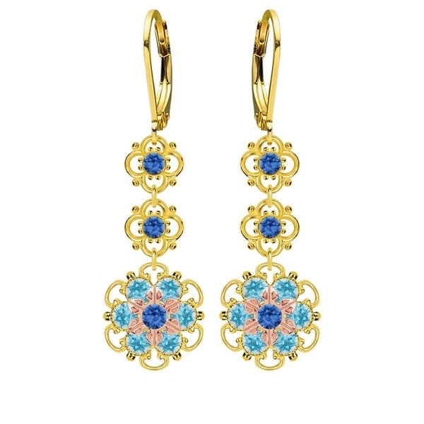 Lucia Costin Silver, Blue, Light Blue Swarovski Crystal Earrings