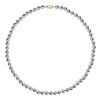 14k Yellow Gold Grey Akoya Cultured Pearl 18-inch Necklace (5.5-6mm)
