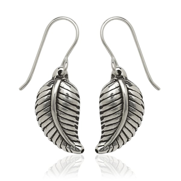 Sterling Silver Feather Drop Hook Earrings