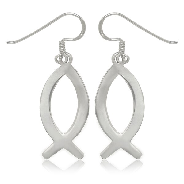 Sterling Silver Christian Fish Drop Hook Earrings