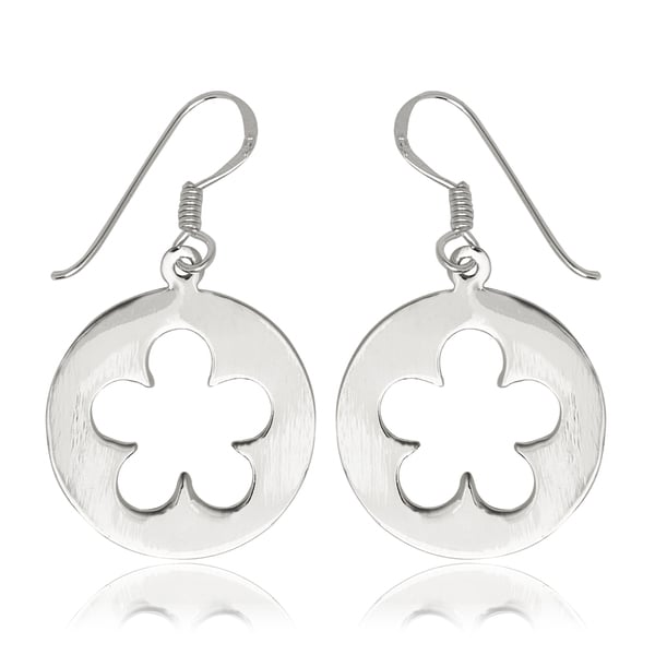 Sterling Silver Daisy Disc Drop Hook Earrings