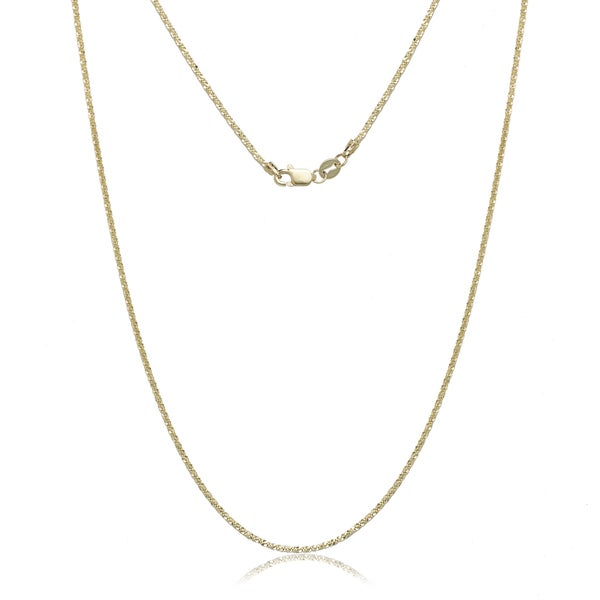 "10K Yellow Gold Sparkle Chain Necklace (16""-20"")"