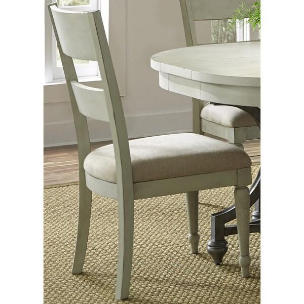 Cottage Harbor Dove Grey Slat Back Linen Seat Side Chair