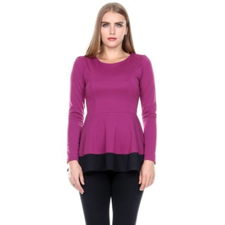 Stanzino Women's Colorblock Long Sleeve Round Neck Tunic Peplum Top