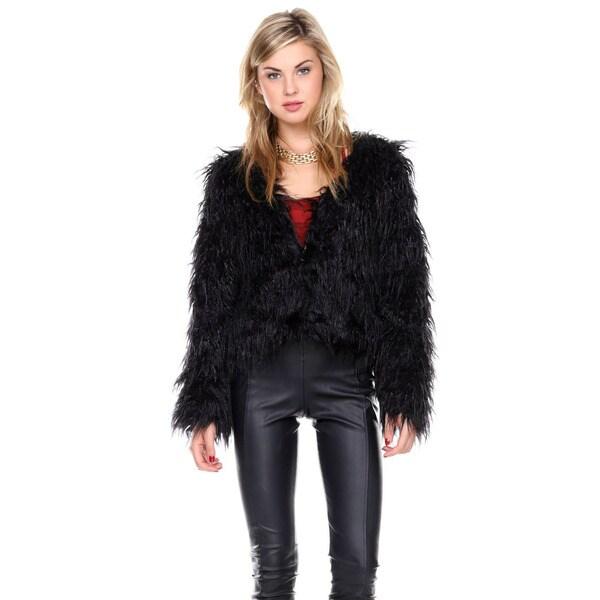 Stanzino Women's Long Sleeve Faux Fur Coat Jacket