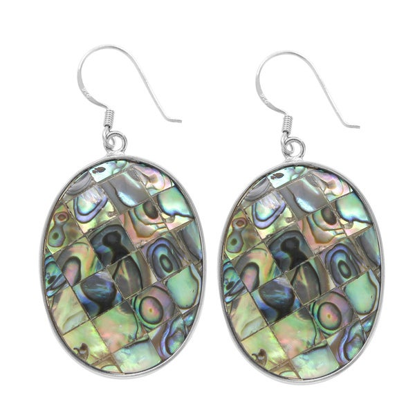 Sterling Silver Oval Abalone Shell Drop Earrings