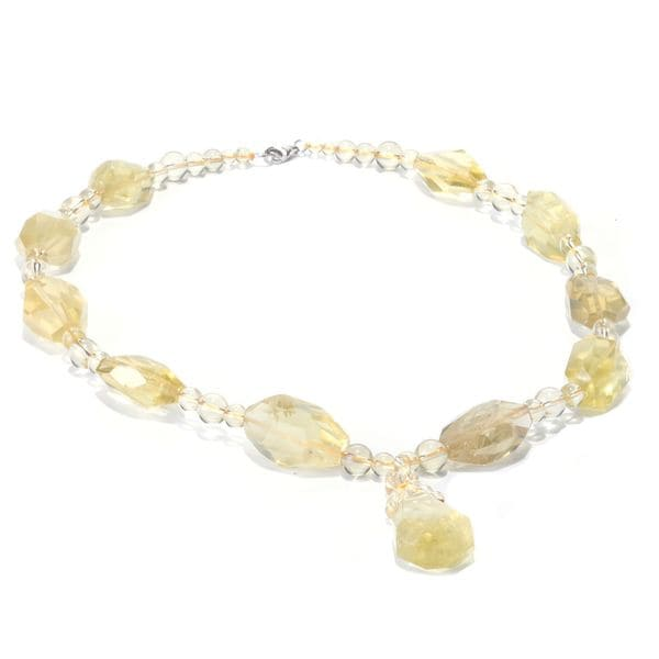 Sterling Silver Lemon Quartz Nugget Bead Necklace