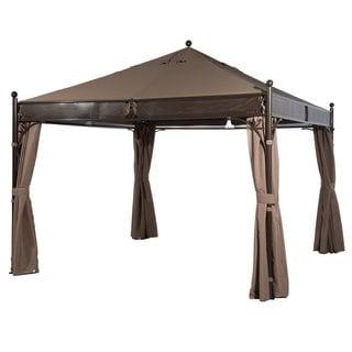 Abba Patio 12 X 12 ft Outdoor Art Steel Frame Garden Party Canopy Backyard Gazebo with 4 Side Walls, Brown