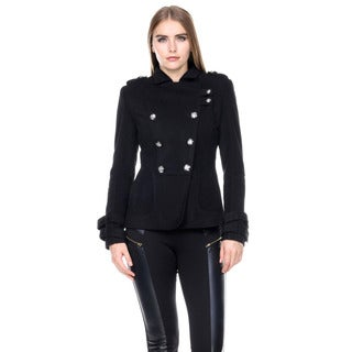 Stanzino Women's Double Breasted Long Sleeve Military Coat