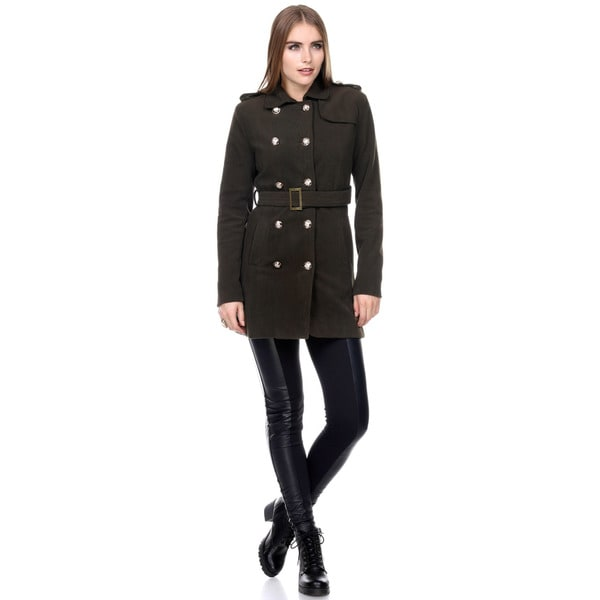 Stanzino Women's Double Breasted Military Trench Coat