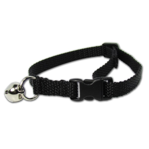 Petflect Black Breakaway Cat Collar With Bell