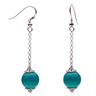 Sterling Silver Turquoise Beaded Dangle Earrings