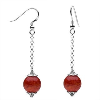 Sterling Silver Coral Beaded Dangle Earrings