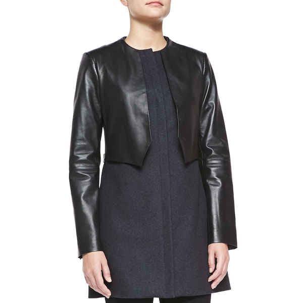 Vera Wang Black Wool Leather Dressy Coat