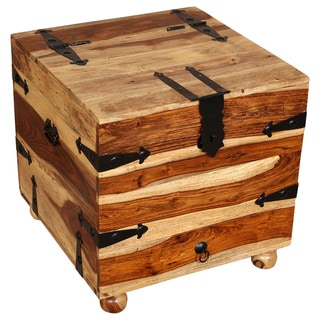 Porter Taos Solid Sheesham End Table Trunk with Wine Storage (India)