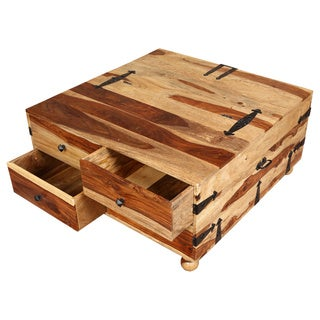 Porter Taos Solid Sheesham Square Coffee Table Trunk with Wine Storage (India)