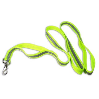 Petflect Fluorescent Yellow/ Silver Reflective Double Loop Leash