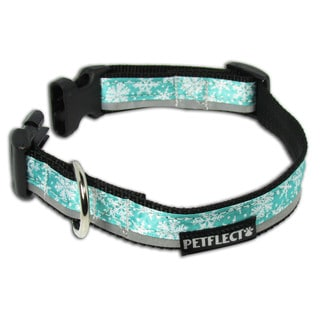 Petflect Snow Flakes on Turquoise Reflective Collar