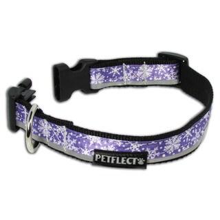 Petflect Snow Flakes on Purple Reflective Collar