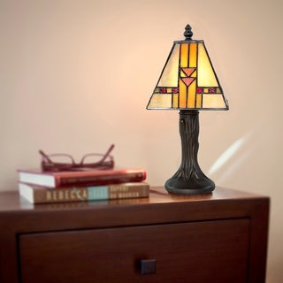 Stained Glass Mini Accent Lamp- Choice of Rose or Mission Style