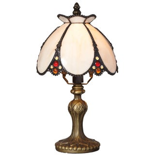 """Downton Abbey Crowned Yorkshire Collection Ivory Stained Glass 12"""" H Accent Lamp"""