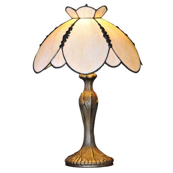 Downton Abbey Crowned Yorkshire Collection Ivory Stained Glass Table Lamp