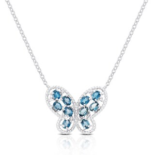Dolce Giavonna Gold Over Silver or Sterling Silver Gemstone and Diamond Accent Butterfly Necklace