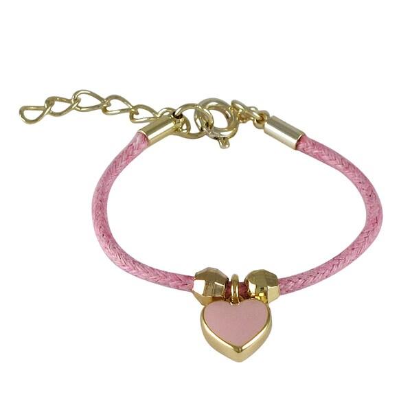 Gold Finish Children's Pink Enamel Heart Charm Cord Bracelet