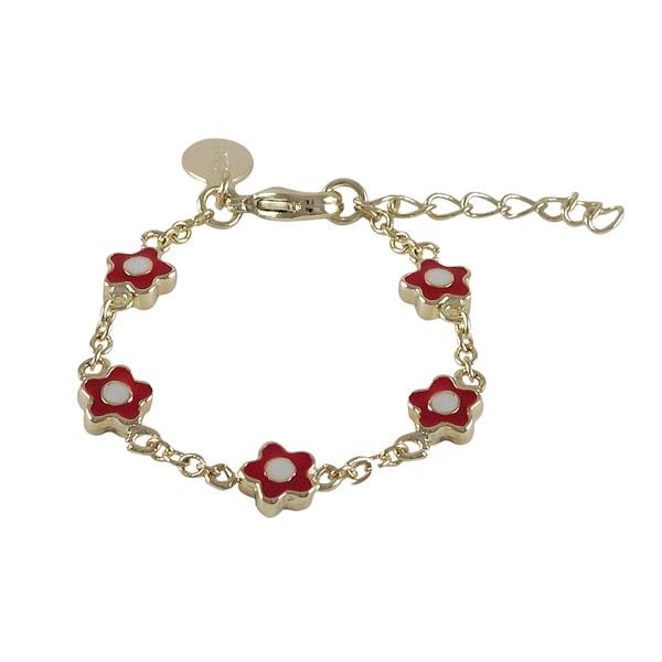 Gold Finish Girls Red Enamel Flower Bracelet