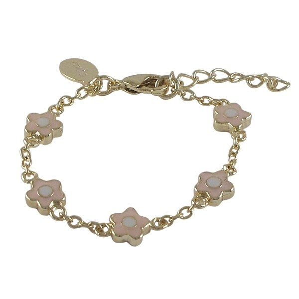 Gold Finish Girls Pink Enamel Flower Bracelet