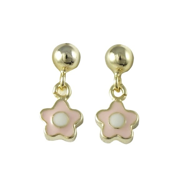 Gold Finish Girls Enamel Flower Dangle Earrings