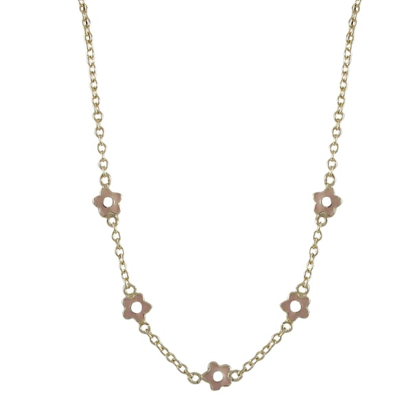 Gold Finish Girls Pink Enamel Flower Necklace