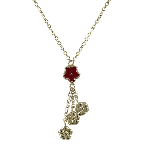 Gold Finish Girl's Red Enamel Flower Tassel Necklace