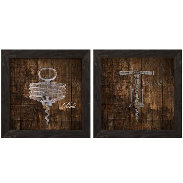 INSPIRE Q Cork Screw Silk Screen on Glass Shadow Box Wall Art (Set of 2)