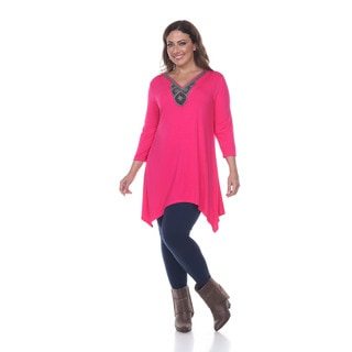 Women's Plus-size 'Luna' Glimmering Embellished Neck Top Tunic