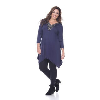 Women's Plus-size 'Luna' Glimmering Embellished Neck Top/Tunic