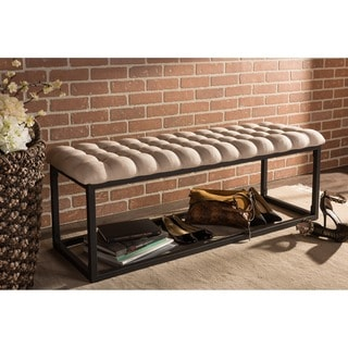 Baxton Studio Zephyr Vintage Industrial Textured Beige Microfiber Tufted Coffee Table Ottoman Bench with Black Metal Legs