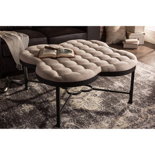 Baxton Studio Branagh Vintage Industrial Textured Beige Microfiber Tufted Coffee Table Ottoman with Black Metal Legs